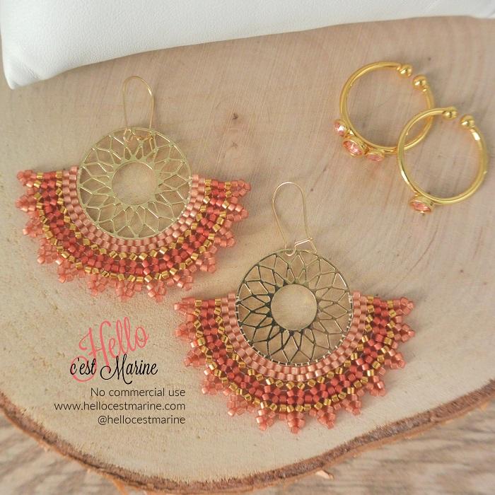 Boucles d'oreilles mandalas dorées et roses tissées en perles Miyuki par Hello c'est Marine