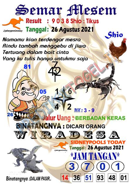 Syair Semar Mesem SDY Kamis 26-Agt-2021