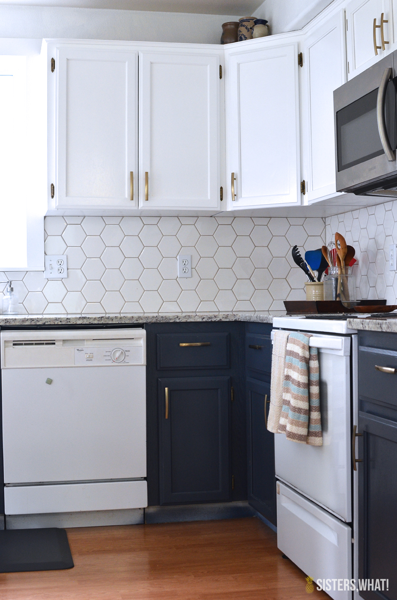 a two toned diy kitchen remodel with hexagon tile!!