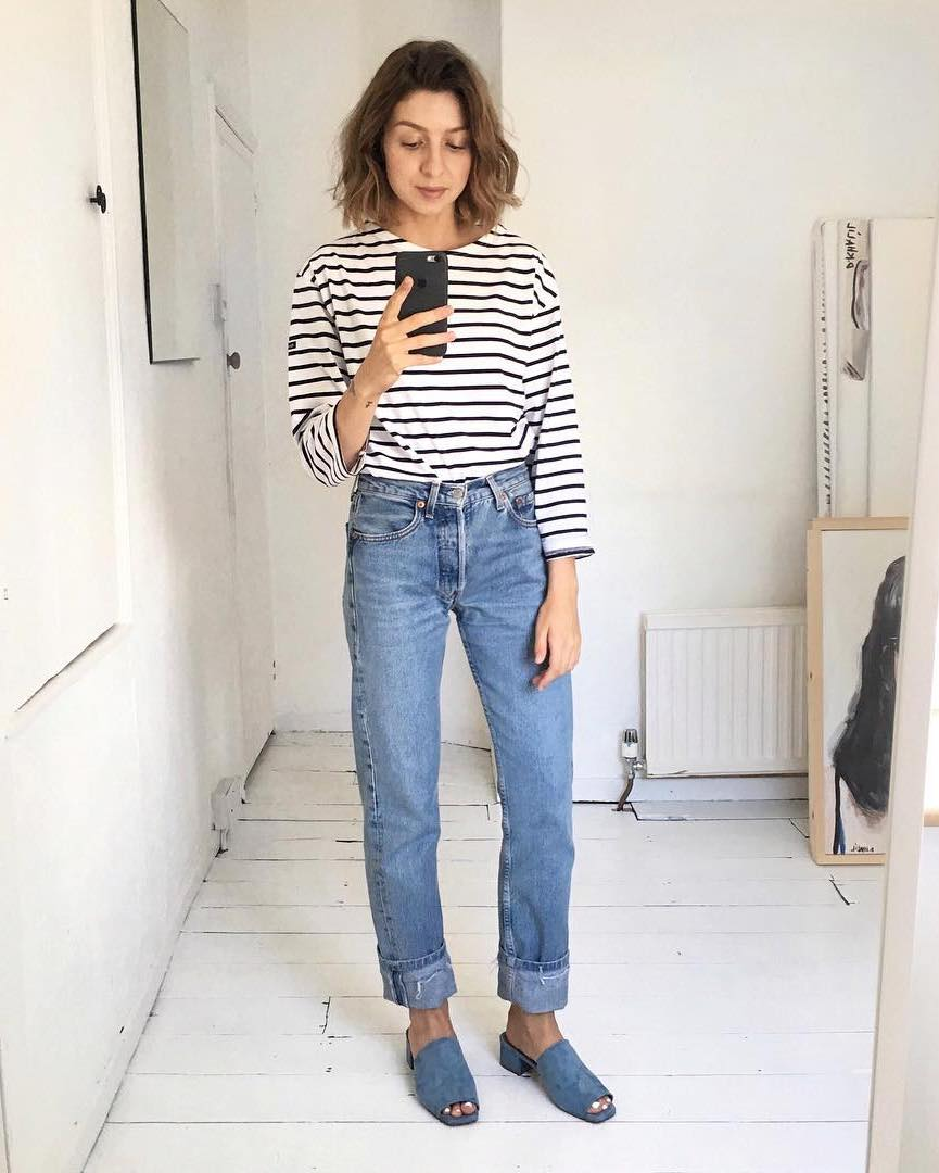 5 Casual-Cool Ways to Wear a Striped T-Shirt for Spring — Brittany Bathgate Instagram Outfit Ideas with cuffed jeans and blue suede mule sandals