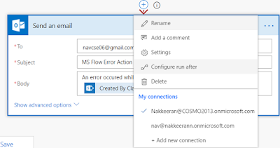 Clicking configure option for send an email action