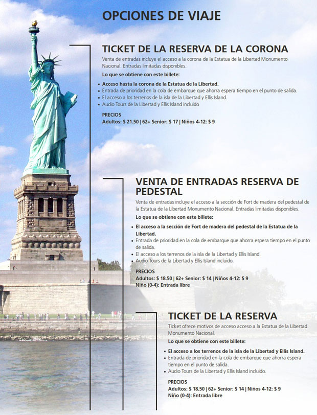 Estatua de la Libertad tipos de entrada a la estatua y precios