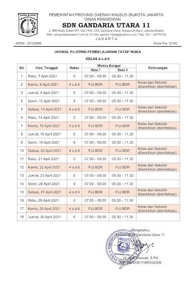 Jadwal Pembelajaran Tatap Muka Terbatas - SDN Gandaria Utara 11