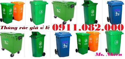 Chuyên bán thùng rác nhựa giá rẻ- thùng rác 120 lít 240 lít 660 lít xanh cam vàng lh 0911082000
