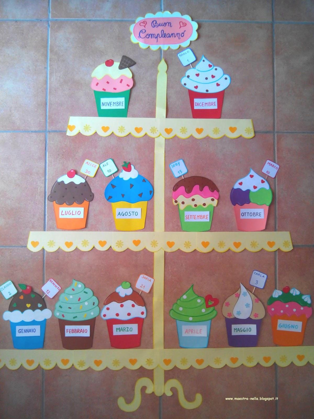 Maestra nella cartellone dei compleanni for Idee per cartelloni scuola infanzia