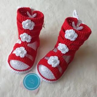 Sandalias Gladiadoras a Crochet