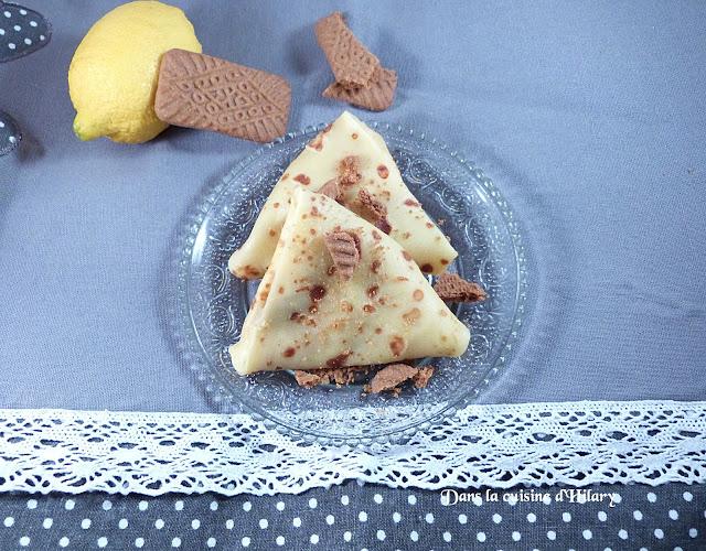 Samoussa de crêpes au lemon curd et spéculoos
