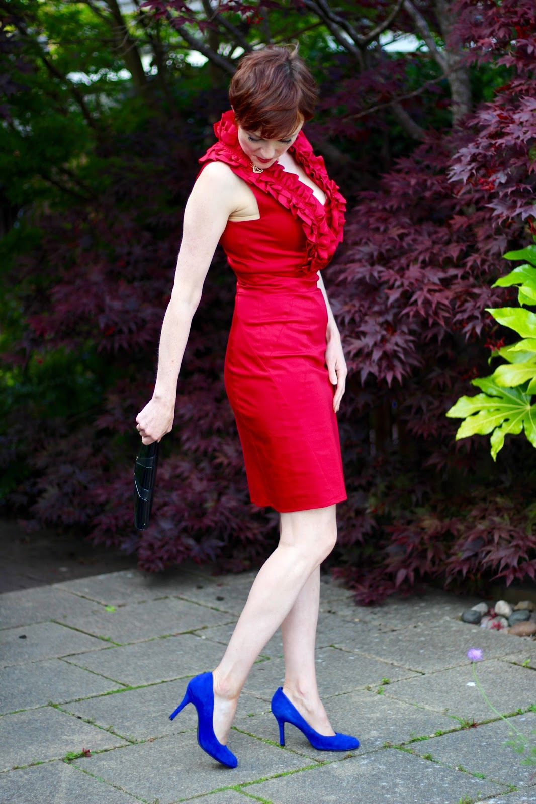 Red Ruffle Ted Baker Dress, Cobalt Suede Heels, Black Vintage Clutch | Self Esteem issues, over 40 |Fake Fabulous
