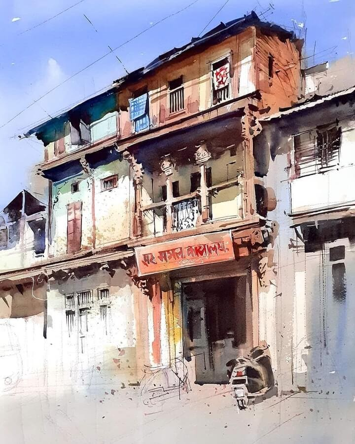 04-Indian-architecture-Paintings-Milind-Mulick-www-designstack-co