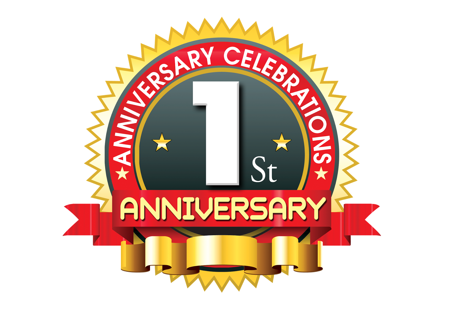 St anniversary logo with red ribbon naveengfx