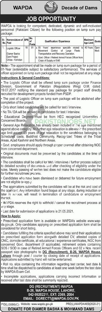 WAPDA Lahore Current Jobs May 2021