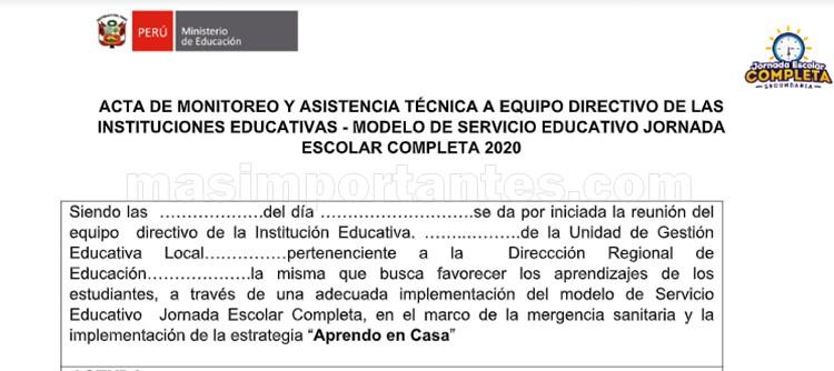 acta de monitoreo y asistencia técnica a directores de las instituciones educativas JEC