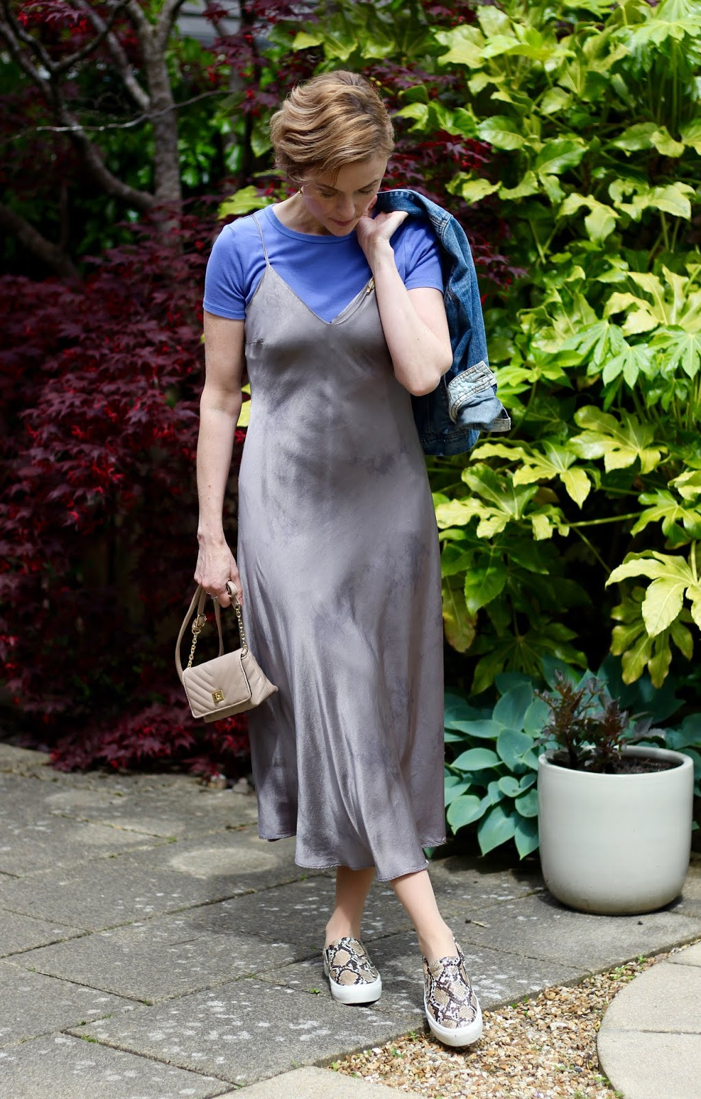 Styling a slip dress over 40 | Fake Fabulous | Real life outfit!