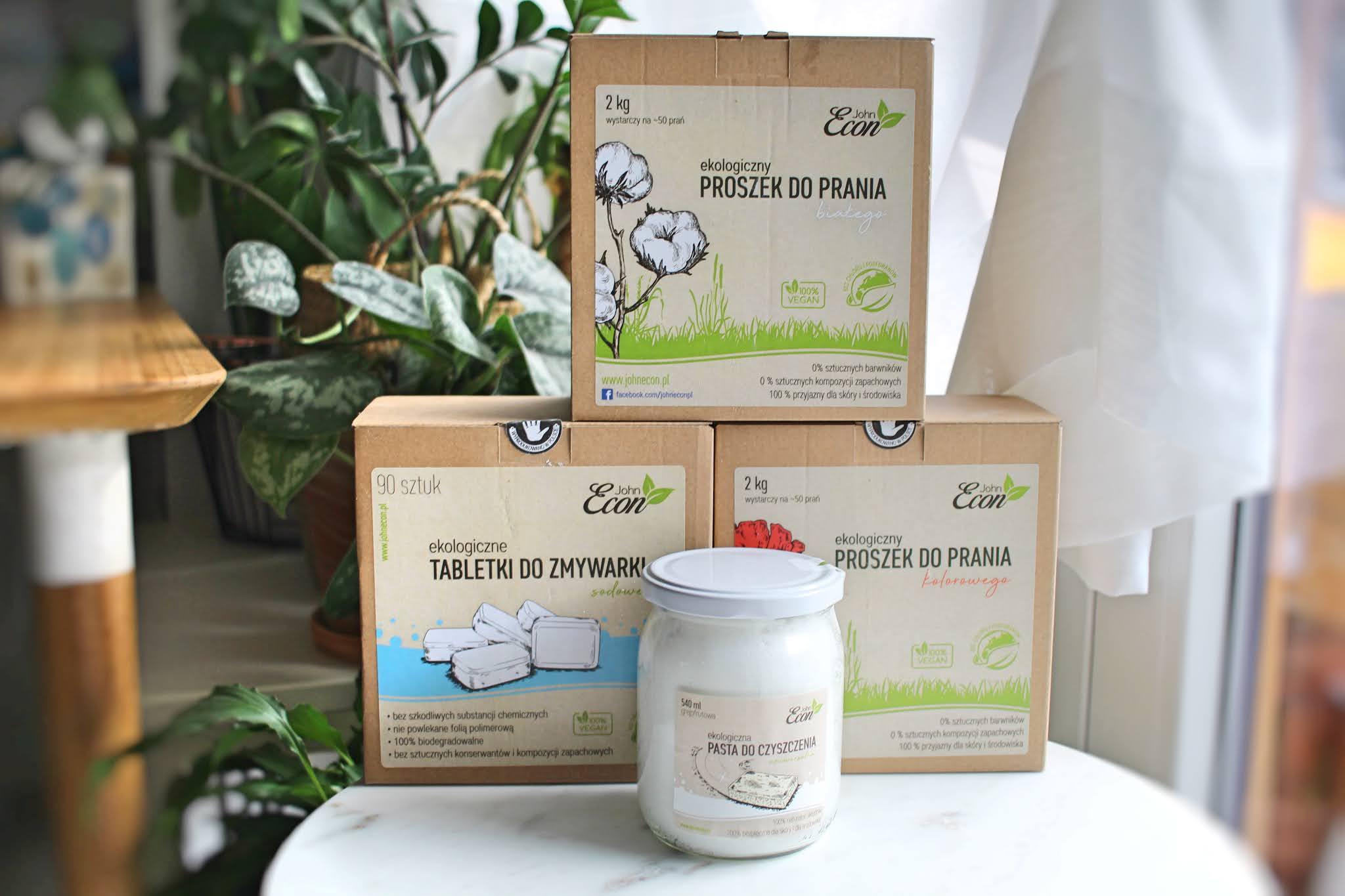 John Econ - ekologiczny proszek do prania białego i kolorowego, tabletki do zmywarki, pasta do czyszczenia