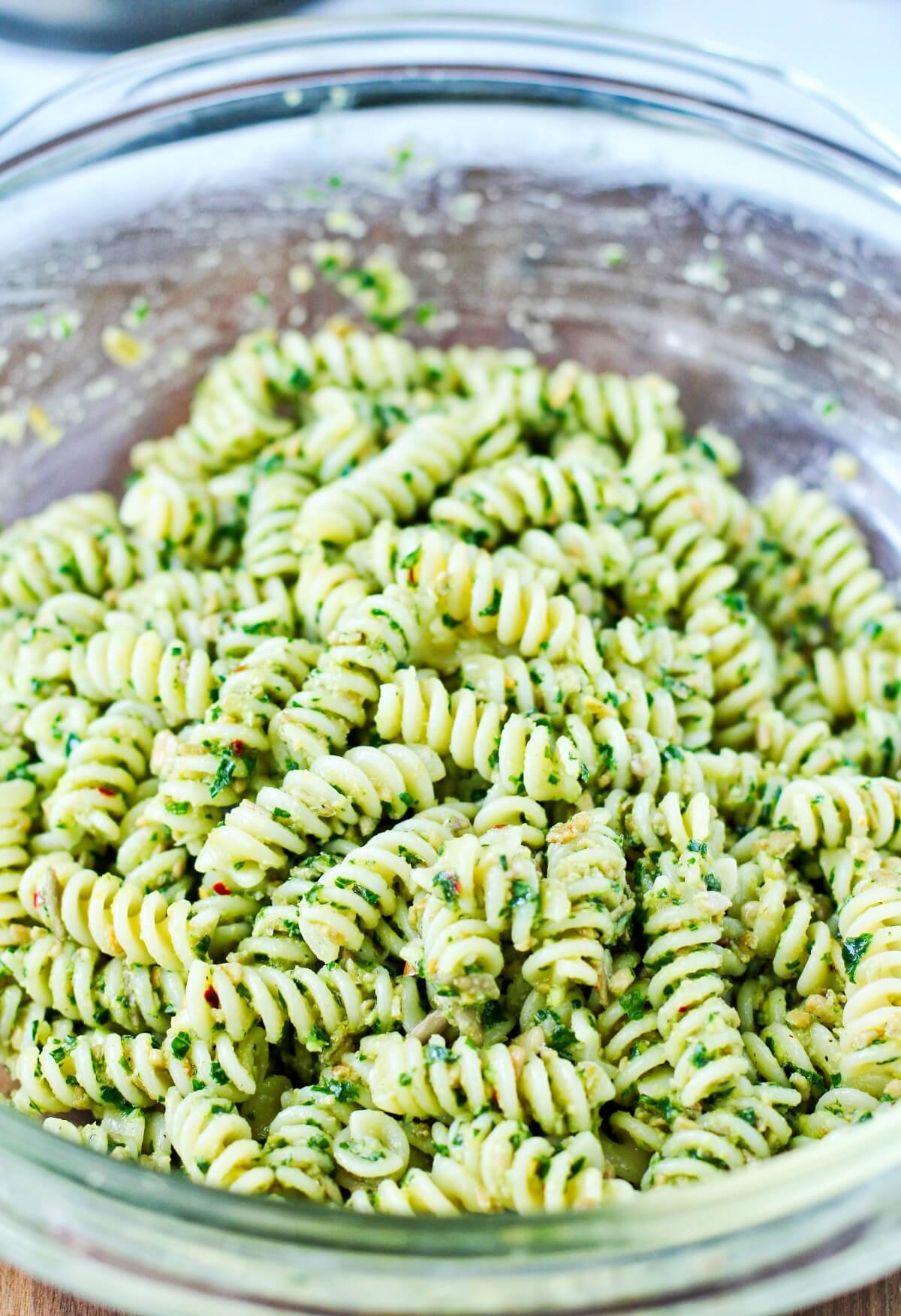 Pasta tossed in a sunflower seed dressing