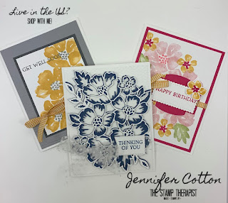 Three cards using the Blossoms in Bloom Bundle (Blossoms in Blooms set and Many Layered Blossoms dies).  Click the picture to go to blog for video!  #StampinUp #StampTherapist