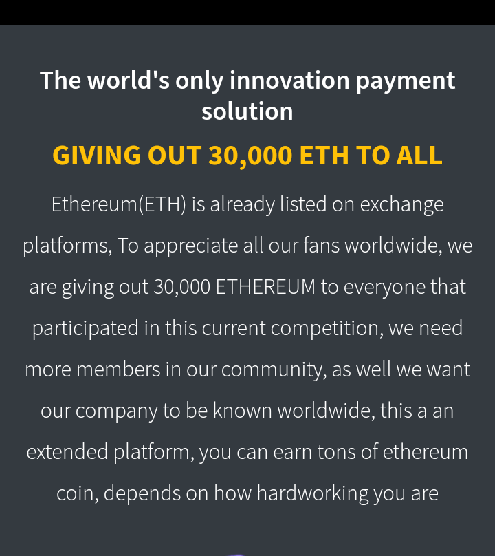 [Make money] 30,000 Ethereum to be shared, See how to Register and make up to 3 million naira #Arewapublisize