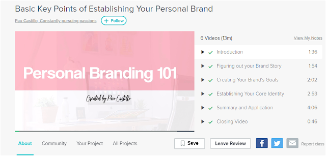 personal branding 101 class on Skillshare by Pau Castillo