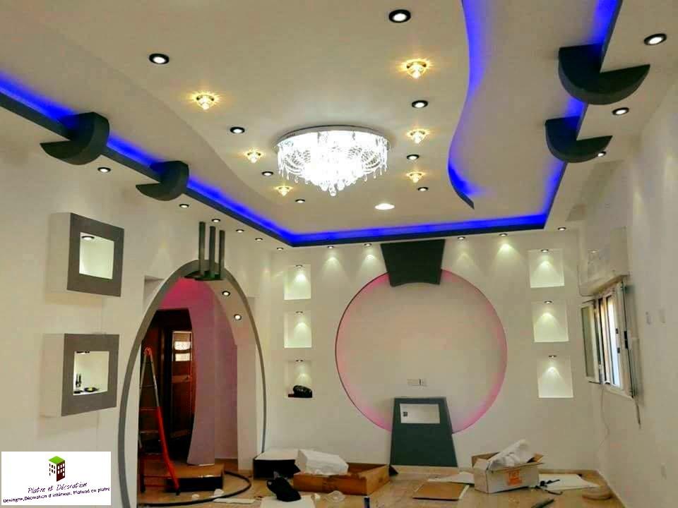 D cor chambre a coucher avec plasma platre et d coration for Decoration platre chambre a coucher