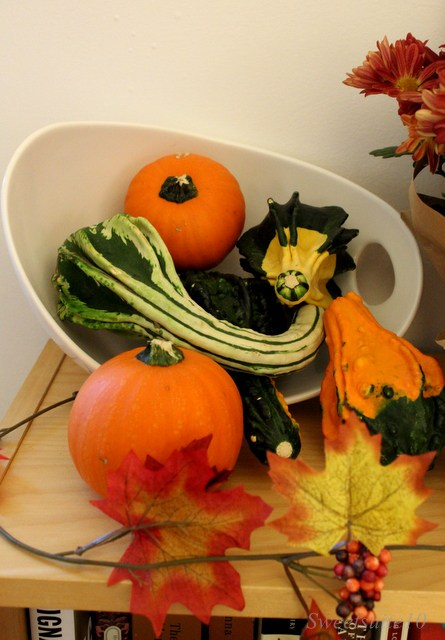 Fall decor - gourds in a white bowl