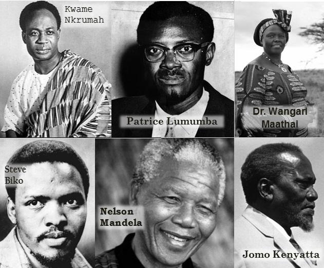 Kwame Nkrumah, Patrice Lumumba, Wangari Maathai, Steve Biko, Nelson Mandela and Jomo Kenyatta are six black African heroes from Africa's history who have changed the course of Africa.