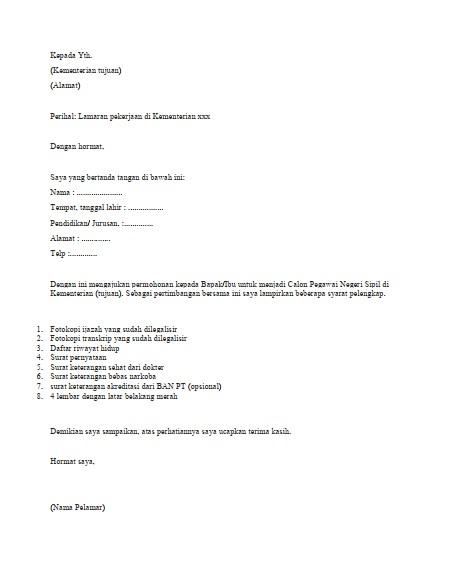 Contoh Surat Lamaran Kerja CPNS (via: tirto.id)