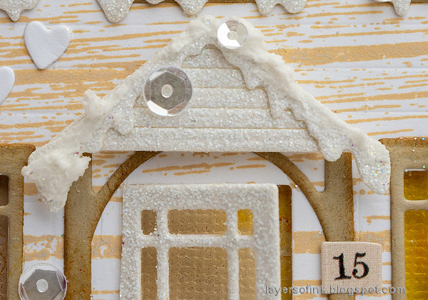 Layers of ink - Winter House Easel Card Tutorial by Anna-Karin Evaldsson. Snowy entrance.