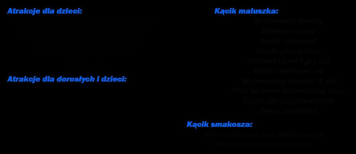 Atrakcje dla dzieci Dmuchana zjeżdżalnia Prom Kosmiczny  Dmuchana zjeżdżalnia Słoneczko  Dmuchany plac zabaw UFO  Suchy basen z piłeczkami  Kule wodne Eurobungee  Atrakcje dla dorosłych i dzieci Ścianka wspinaczkowa (2 trasy) Żyroskop Marsjańskie Sumo Zorbing Marsjańska sztuczna Krowa  Strzelnica kosmiczna (asg, wiatrówki) Turniej w darta na 3 tarczach Kącik maluszka Malowanie twarzy  Balonowe zoo  Kącik animacji  Kącik plastyczny Zabawki xxxl i gry xxl Bańki mydlane xxl Wytwornice baniek 2 szt  Plac budowy kosmicznej bazy Kącik dla najmłodszych Żywe maskotki  Kącik smakosza Wata cukrowa bez limitu porcji Popcorn bez limitu porcji  Dane techniczne: Pobór mocy około 16 kw  Powierzchnia około 650 m2  Obsługa w strojach nawiązujących do motywu  Czas zabawy 7 godzin  Czas rozkładania 5 godzin Czas składania 4 godziny  Atrakcje dodatkowe: Byk rodeo  Bungee-run (sprężynująca lina)  Siłomierz Boxer Gigantyczne piłkarzyki