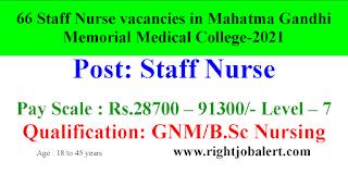 66 Staff Nurse vacancies in Mahatma Gandhi Memorial Medical College