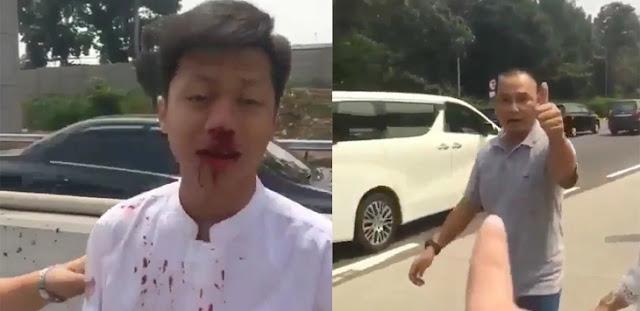 Remaja Berdarah-darah Dihajar Pengemudi Mobil Berstiker Mabes TNI