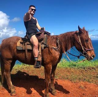 Picture of Emumita Bonita hubby riding horse & posing