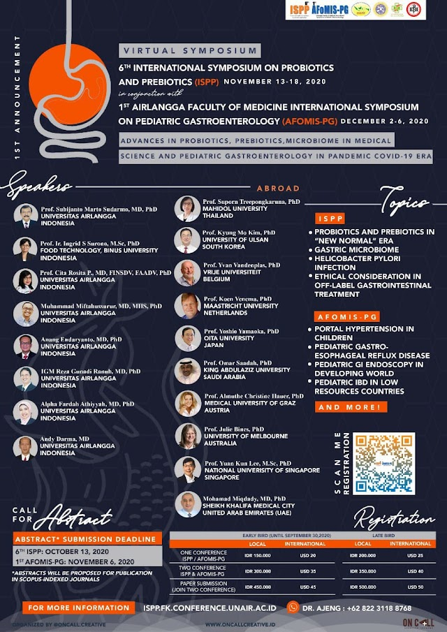 """*""""Advances in Probiotics, Prebiotics, Microbiome in Medical Science and Pediatric Gastroenterology in Pandemic COVID-19 Era""""*, this event will be held virtually on:  6th ISPP: November 13-28, 2020  1st AFoMIS-PG: December 2-6, 2020"""