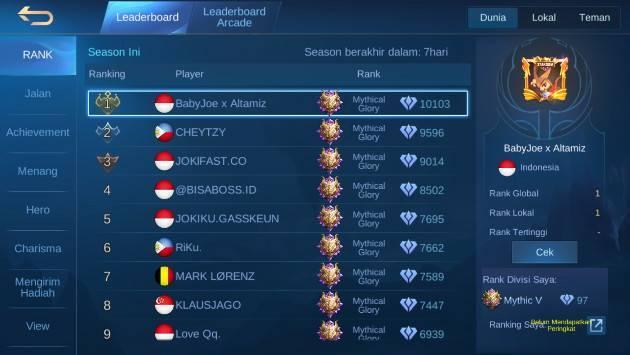 siapa top global rank season 18 mobile legends