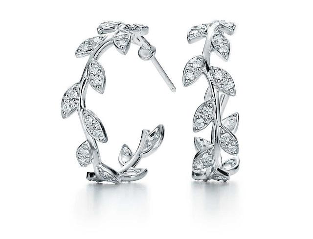 Diamond Silver Hoop Earrings by Tiffany