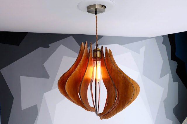 DIY wood pendant light fixture build foyer