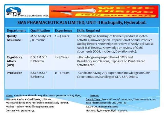 SMS Pharma | Walk-in for Freshers and Expd in Production/QA/RA on 16 to 19th Jun 2021