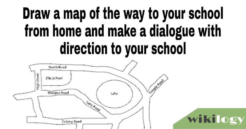 draw a map of the way to your school from home and make a dialogue with direction to your school