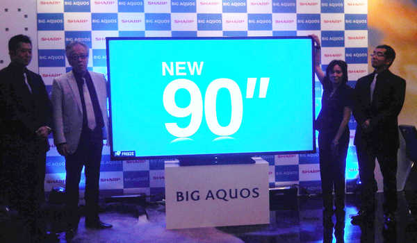 "Price of Sharp AQUOS TV 90 ""(Inchi) Real Aluminum Frame and Brushed Metal Finish"