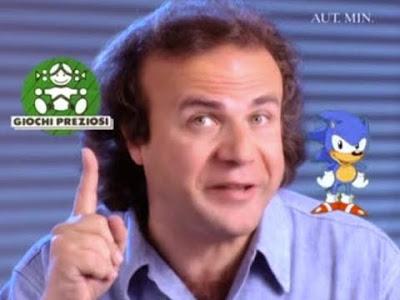 Jerry Calà e Sonic durante una pubblicità SEGA della Giochi Preziosi