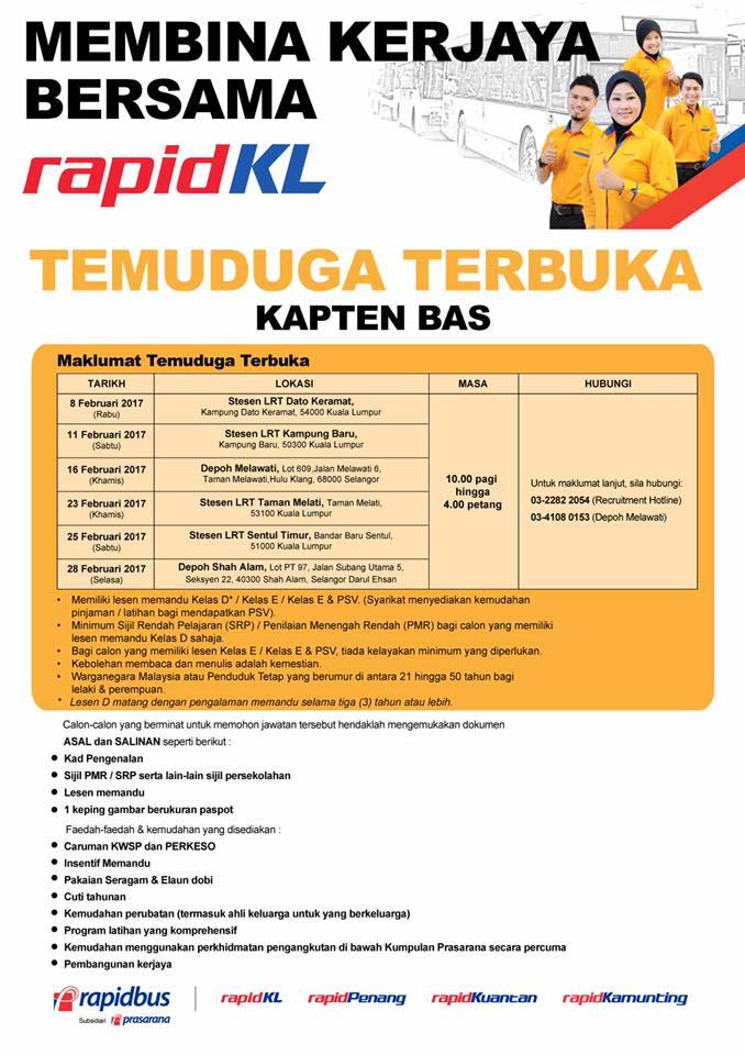 Temuduga Terbuka Terkini 2017 di RapidKL