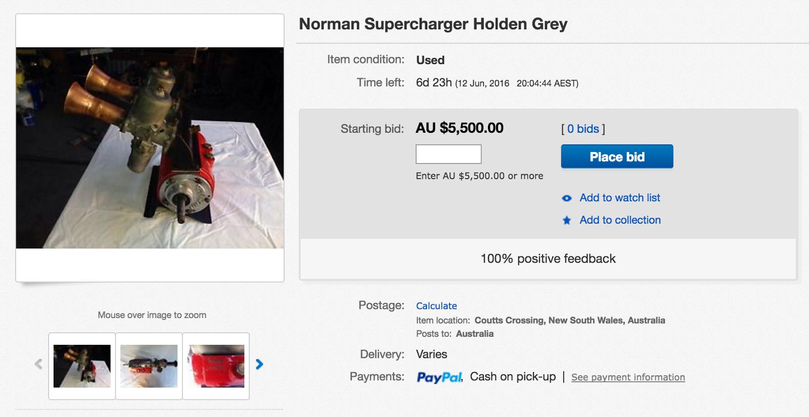 Norman Super Charger for sale ~ Holden Grey Motor