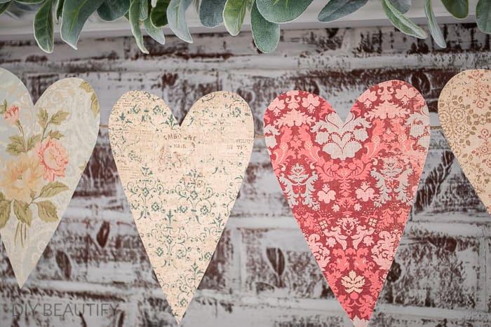Vintage Inspired Paper Heart Garland