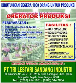 Loker PT. Tri Lestari Sandang Industri Tegal 2020