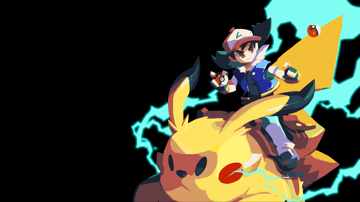 WAALLPAPER ANIME ASH AND PICACHU FAN ART POKEMON