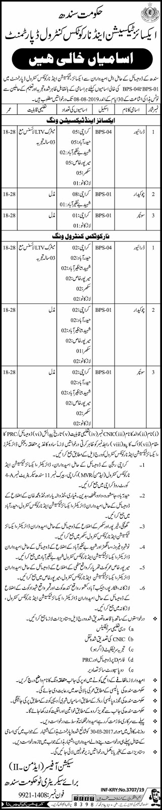Jobs in Excise Taxation and Narcotics Contrl Department 11 July 2019