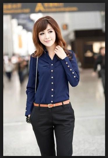 Model Baju Kemeja Wanita Warna Biru Modern Terbaru
