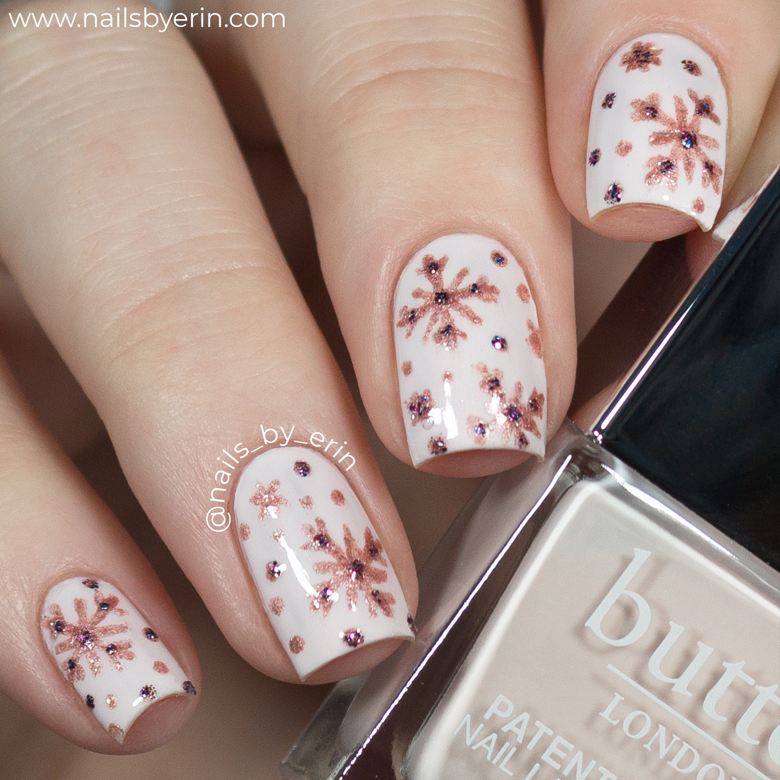 Nailsbyerin Rose Gold Snowflake Nails And Butter London Instagram