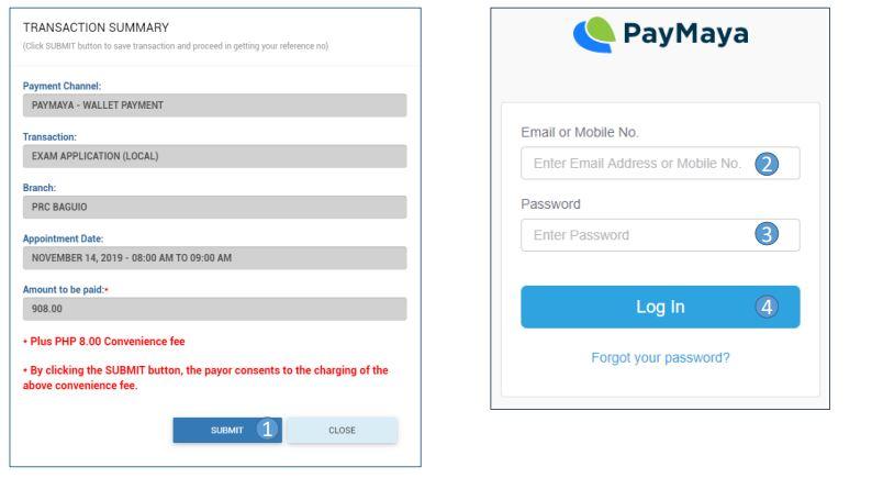Payment via PayMaya