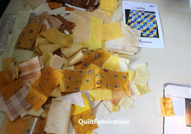 yellow fabric scrap pile