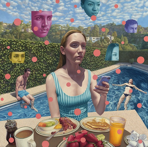 "por Alex Gross - ""Laurel Canyon Social Network"", 2017 